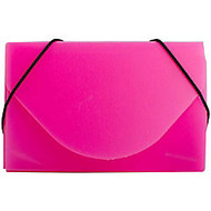 JAM Paper; Plastic Business Card Case With Round Flap, 3 1/2 inch; x 2 1/4 inch; x 1/4 inch;, Pink