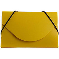 JAM Paper; Plastic Business Card Case With Round Flap, 3 1/2 inch; x 2 1/4 inch; x 1/4 inch;, Yellow