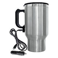 Brentwood Electric Coffee Mug With Wire Car Plug, 16 Oz., Silver