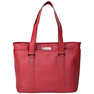 Kenneth Cole Reaction Leather Work Tote With 16 inch; Laptop Pocket, Red