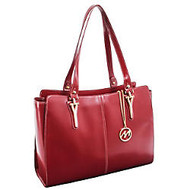 "McKleinUSA; M Series GLENNA Leather Shoulder Tote With 9"" x 10"" Tablet Compartment, 16 3/4 inch;H x 5 inch;W x 12 inch;D, Red"