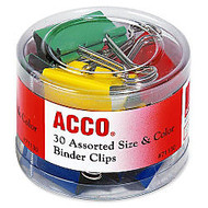 Acco Binder Clips - Reusable, Rust Resistant, Scratch Resistant - 30 / Pack - Assorted - Plastic, Tempered Steel