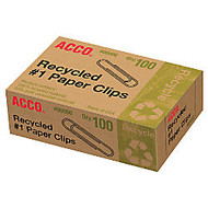 ACCO; 100% Recycled Paper Clips, No. 1 Regular, Silver, Box Of 100