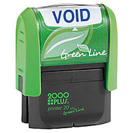 2000 PLUS; Green Line; Self-Inking Message Stamp, Void, 9/16 inch; x 1 3/4 inch;, 80% Recycled, Blue Ink