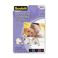 3M™ Self-Sealing Photo Laminating Sheets, 4 inch; x 6 inch;, Pack Of 5