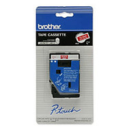 Brother; TC-54Z1 White-On-Red Tape, 0.38 inch; x 25'