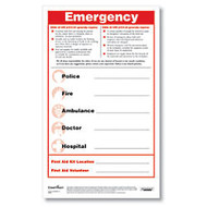 ComplyRight Emergency Numbers Safety Poster And Pen Set, English, 8 1/2 inch; x 14 inch;