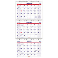 AT-A-GLANCE 3-Month Wall Calendar, 12 inch; x 26 1/2 inch;, 60% Recycled, January–December 2017