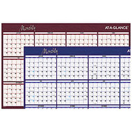 AT-A-GLANCE Erasable/Reversible Wall Planner, 36 inch; x 24 inch;, Blue/Red, January–December 2017