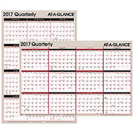 AT-A-GLANCE Erasable/Reversible Wall Planner, 36 inch; x 24 inch;, Red/Black, January–December 2017
