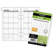 Day Runner; Monthly Calendar Refill, 3 3/4 inch; x 6 3/4 inch;, 60% Recycled, White, Unruled Daily Blocks, January to December 2017