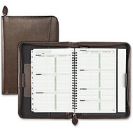 Day-Timer Small BN Leather Organizer Starter Set - Weekly, Monthly - 1 Year - 1 Week Double Page Layout - 5.50 inch; x 8.50 inch; - Wire Bound - Zipper - Dark Brown - Bonded Leather - Built-in Planner, Tabbed, Divider, Address & Phone Page, Notepad,
