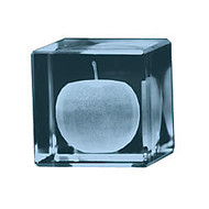 Apple 3D Crystal Cube Paperweight