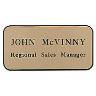 Custom-Engraved Plastic Name Badge, 1 1/2 inch; x 3 inch;, Assorted