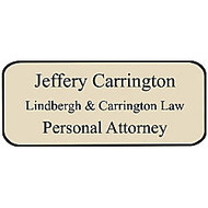Custom-Engraved Plastic Name Badge, 1 1/4 inch; x 3 inch;, Assorted