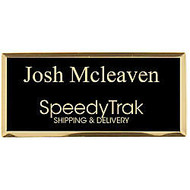 Engraved Metal Name Badge, 1 1/4 inch; x 2 3/4 inch;, Black/Gold