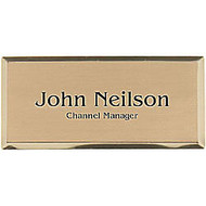 Engraved Metal Name Badge, 1 1/4 inch; x 2 3/4 inch;, Gold