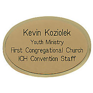 Engraved Metal Name Badge, 1 3/4 inch; x 2 1/2 inch;, Gold, Oval