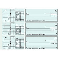 3-To-A-Page Checks, Style 41, 8 1/4 inch; x 3 1/24 inch;, 1 Part, Box Of 300
