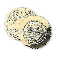 Gold Foil Label Seal Stickers For Custom Embossers, 2 1/8 inch; Diameter, Pack Of 40