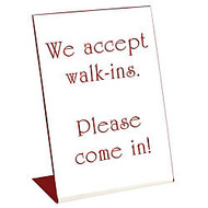 Acrylic Engraved L-Shaped Sign, Pedestal, 8 inch; x 6 inch;