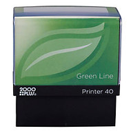 2000 PLUS; Green Line; Self-Inking Stamp, P40GL, 80% Recycled, 13/16 inch; x 2 3/16 inch; Impression