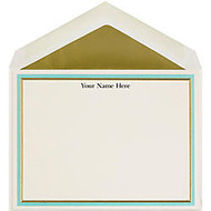 The Occasions Group Stationery Note Cards, 4 1/2 inch; x 6 1/4 inch;W, Flat, Aqua Gold Double Border, Ecru Matte, Box Of 25