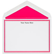 The Occasions Group Stationery Note Cards, 4 1/2 inch; x 6 1/4 inch;W, Flat, Hot Pink Double Border, White Matte, Box Of 25