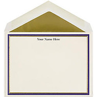 The Occasions Group Stationery Note Cards, 4 1/2 inch; x 6 1/4 inch;W, Flat, Midnight Gold Double Border, Ecru Matte, Box Of 25