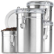 Anchor 4 Pc. Stainless Steel Clamp Canister Set w/Clear Lid