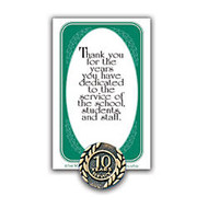 10 Years Of Service Lapel Pin, 5/8 inch;, Antique Gold
