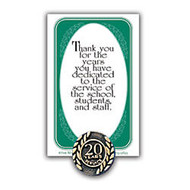 20 Years Of Service Lapel Pin, 5/8 inch;, Antique Gold