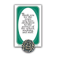 25 Years Of Service Lapel Pin, 5/8 inch;, Antique Gold