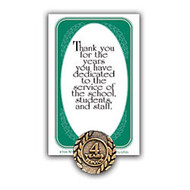 4 Years Of Service Lapel Pin, 5/8 inch;, Antiqud Gold