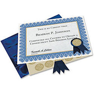 Geographics Blue Spiral Certificate Kit - 11 inch; x 8.50 inch; - Inkjet, Laser Compatible - Blue with Golden Seal