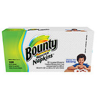 Bounty Quilted 1-Ply Napkins, 15 inch; x 17 inch;, White, Pack Of 100
