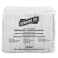 Genuine Joe 2-Ply Lunch Napkins, 17 inch; x 15 inch;, 100% Recycled, White, 400 Per Pack, Carton Of 6 Packs