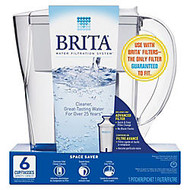Brita; Space Saver 6-Cup Water Filter Pitcher, White