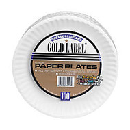 AJM Premium Gold Label; Coated Paper Plates, 9 inch; Diameter, White, Pack Of 100