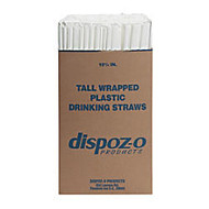 Dispoz-O Tall Giant Straws, 10 1/4 inch;, Translucent, 1,200 Straws Per Pack