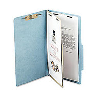 ACCO; Durable Pressboard Classification Folders, Legal Size, 2 inch; Expansion, 1 Partition, 60% Recycled, Sky Blue, Box Of 10