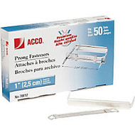 ACCO; Premium Prong Fastener for Standard 2-Hole Punch (2 3/4 inch; Centers) - Standard - 2.8 inch; Length - 1 inch; Size Capacity - Heavy Duty, Coined Edge - 50 / Box - Metal