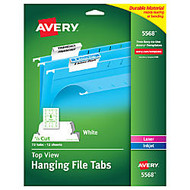 Avery; Top-View Hanging File Tabs, 1/5 Cut, White, Pack Of 72