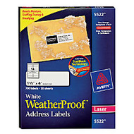 Avery Weather Proof Mailing Label - Permanent Adhesive -  inch;1.33 inch; Width x 4 inch; Length - 14 / Sheet - Rectangle - Laser - White - Polyester - 700 / Pack
