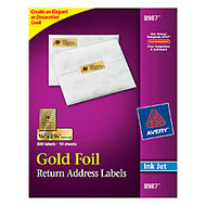 Avery; 8987 Gold Foil Inkjet Return Address Labels, 3/4 inch; x 2 1/4 inch;, Box of 300