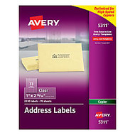 Avery; Clear Copier Address Labels, 1 inch; x 2 13/16 inch;, Box Of 2,310