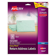 Avery; Clear Easy Peel; Inkjet Return Address Labels, 1/2 inch; x 1 3/4 inch;, Pack Of 800