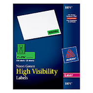Avery; Color Laser Address Labels, 1 inch; x 2 5/8 inch;, Neon Green, 25 Sheets, Pack Of 750