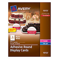 Avery; Adhesive Round Display Cards, 3 3/4 inch; x 3 3/4 inch;, White, Pack Of 40