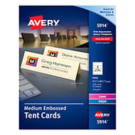 Avery; Embossed Tent Cards, 2 1/2 inch; x 8 1/2 inch;, Ivory, Pack Of 100